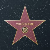 Hollywood walk of fame star Movie celebrity boulevard award granite street stars of famous actororr success films vector image