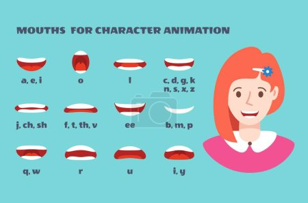 Illustration for Mouth sync. Girl face with lips talking expression. Articulation and smile, speaking female mouths animation with alphabet vector set - Royalty Free Image