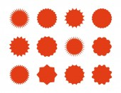 Starburst price stickers Star sale banners red explosion signs sunburst speech bubbles Vector red silhouettes on white backgrounds