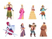 Medieval characters Flat historical people king queen prince and princess royal set Vector cartoon fairytale knights and peasant