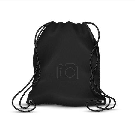 Illustration pour Sac à cordon réaliste. Modèle de sac à dos sport noir avec cordes, sac à dos accessoire vierge. Modèle isolé vectoriel polyester ou nylon sport packs avec ficelle pour chaussures d'école - image libre de droit