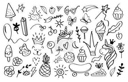 Elementy Doodle. Szkicuj szablony projektów dekoracji dla zaproszeń i kart okolicznościowych. Vector ręcznie rysowane gwiazdy korony i strzały