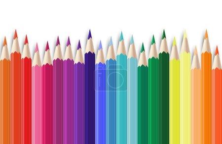 Illustration pour Crayons de couleur réalistes. Crayons de couleur graphite couleur 3D affûtés ensemble. Image vectorielle école d'objets colorés fond avec crayon pointu en bois - image libre de droit