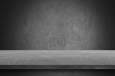 Photo for Table cement floor and wall backgrounds, shelf display products. - Royalty Free Image