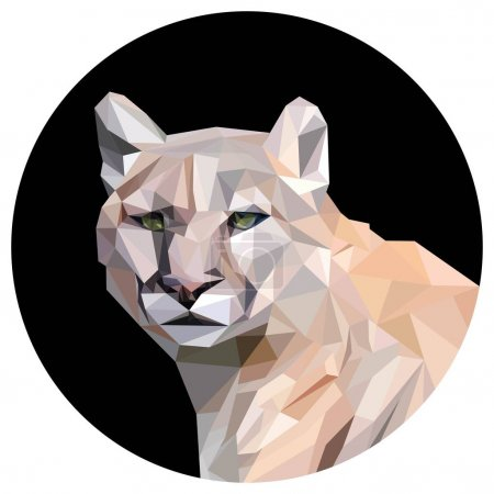 Light brown cougar, low poly illistration...