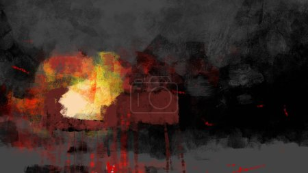 Foto de Painting of abstract fire in brush stroke style, digital art - Imagen libre de derechos