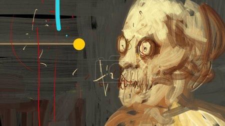 Photo pour Peinture moderne traditionnelle numérique d'une illustration d'expression du visage humain horreur - image libre de droit