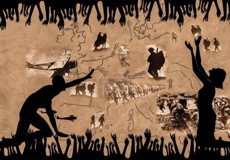 Photo pour Collage monochrome représentant les souffrances des personnes et la première guerre mondiale 100e annuversary - image libre de droit