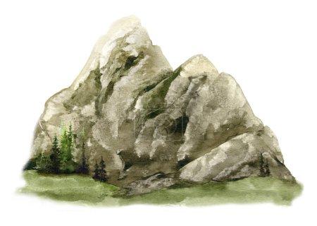 Photo d'une montagne avec des épinettes sur la distance lointaine photo peinte à la main à l'aquarelle isolée sur le fond blanc