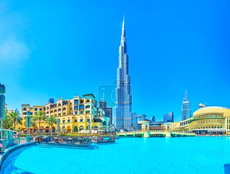 DUBAI, UAE - MARCH 3, 2020: Downtown is the most popular district in the city due to its main landmark, Burj Khalifa tower, the tallest in the world, on March 3 in Dubai