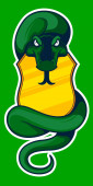 snake with shield martial arts mascot sports logo illustration