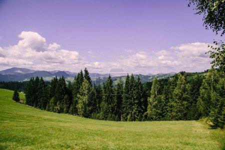 Photo pour Vue aérienne de l'heure d'été dans les montagnes des Carpates, Ukraine - image libre de droit