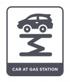 car at gas station icon in trendy design style car at gas station icon isolated on white background car at gas station vector icon simple and modern flat symbol