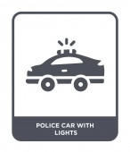 police car with lights icon in trendy design style police car with lights icon isolated on white background police car with lights vector icon simple and modern flat symbol