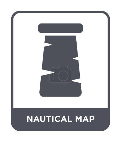 Nautical map icon in trendy design style. nautical...