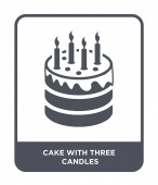 cake with three candles icon in trendy design style cake with three candles icon isolated on white background cake with three candles vector icon simple and modern flat symbol