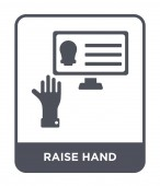 raise hand icon in trendy design style raise hand icon isolated on white background raise hand vector icon simple and modern flat symbol