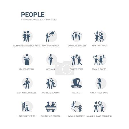 ensemble simple d'icônes telles que l'homme enfant et les ballons, saluant au revoir, les enfants à l'école, aider les autres à sauter, donner un tour de dos de cochon, chapeau haut, partenaires applaudissant les mains, homme avec de la compagnie, équipe