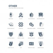 simple set of icons such as demostration roulette table loto lucky cat toy japanese cat samurai head of japan robot of japan japanese demon tattoo machine mechanical gears related other