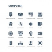 simple set of icons such as square chip parabolic dish and keyboard with cable tv controller computer set round webcam pc storage computer chip dvd drive calibrate related computer icons