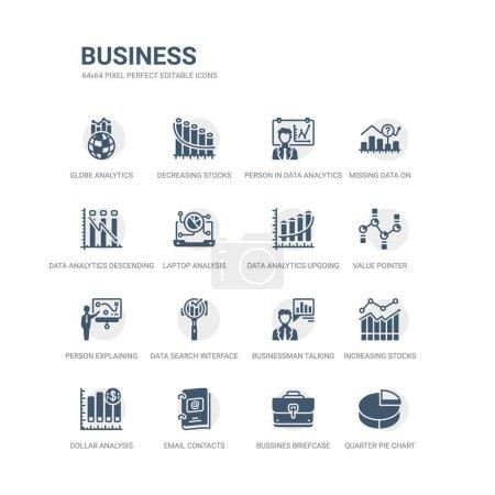 Illustration pour Ensemble simple d'icônes telles que le graphique à secteurs quart, mallette de bussins, contacts par e-mail, graphique à barres d'analyse de dollar, graphique des stocks croissants de barres, homme d'affaires parlant d'analyse de données, recherche de données - image libre de droit
