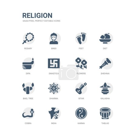 Simple set of icons such as tablas, karma, india, ...