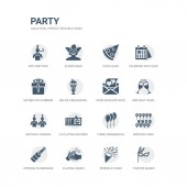 simple set of icons such as theatre masks sprinkle stars claping hands opening champagne bottle birthday wish three ornamental balloons dj playing records birthday friends birthday toast