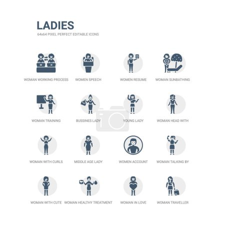Illustration for Simple set of icons such as woman traveller, woman in love, woman healthy treatment, with cute hairstyle, talking by phone, women account, middle age lady, with curls, head with glasses, young lady. - Royalty Free Image