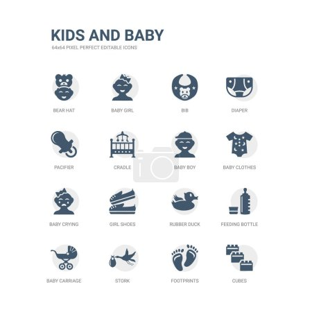 Illustration for Simple set of icons such as cubes, footprints, stork, baby carriage, feeding bottle, rubber duck, girl shoes, baby crying, baby clothes, boy. related kids and icons collection. editable 64x64 pixel - Royalty Free Image