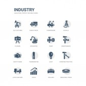 simple set of icons such as industrial tread tool box stats lathe machine construction tool light thermometer safety mask maintenance pump related industry icons collection editable 64x64