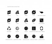 set of 20 black filled vector icons such as export button replay arrows scale arrows right curve arrow curve left arrow download data 1 pete 3 pvc hdpe 2 6 ps ui black icons collection