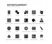 set of 20 black filled vector icons such as lottery sawing board games with roles board games set logic board games tangram game blocks parchis mill game yahtzee entertainment black icons