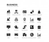 set of 20 black filled vector icons such as graphs finance strategic shopping bags customer relationship management director desk man talking graduation ceremony business hierarchy