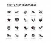 set of 20 black filled vector icons such as apricot arugula aubergine basil blackberry celery star fruit sweet potato tuber zucchini fruits and vegetables black icons collection editable