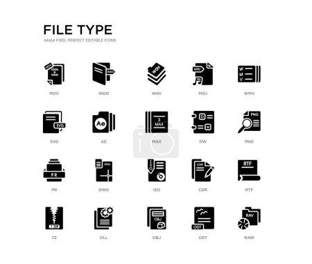 Illustration pour Jeu de 20 icônes vectorielles remplies de noir telles que raw, rtf, png, wmv, odt, obj, svg, m3u, wav, indd. type de fichier collection d'icônes noires. pixel modifiable parfait - image libre de droit