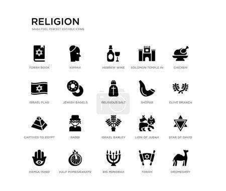 ensemble de 20 icônes vectorielles remplies de noir tels que dromadaire, étoile de David, branche d'olivier, poulet, torah, grande menorah, drapeau israélien, temple Salomon à Jérusalem, vin d'hébreu, kippa. religion icônes noires