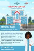 Stylish Medical Care template for Medical Center with illustration for Brochure Flyer Magazine Poster Corporate Presentation infographic marketing material Vector template in A4 size