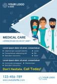 Stylish Medical Care template for Medical Center with illustration of doctors for Brochure Flyer Magazine Poster Corporate Presentation infographic marketing material Vector template in A4 size