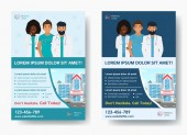 Stylish Medical Care template two colors for Medical Center with illustration for Brochure Flyer Magazine Poster Corporate Presentation infographic marketing material Vector template in A4 size