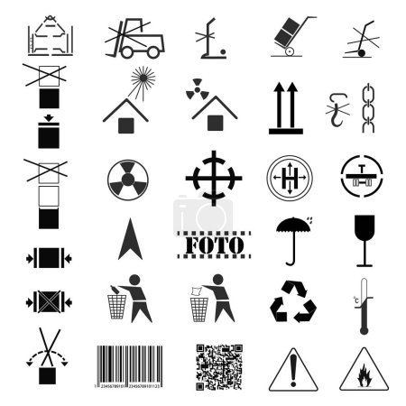 Vector illustration set symbols, Industrial package marking, cargo marking, icons pointing rules application to packaging with loads