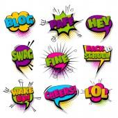 Set hand drawn effects comic speech bubbles