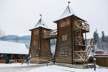 ancient wooden fortress in the Ukraine. Historical places of Ukraine.