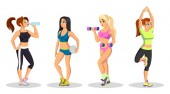 Vector set with girls doing exercises lifting weights practising hatha yoga training at gym