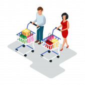 Man and woman going with basket trolleys carts in shop store supermarket