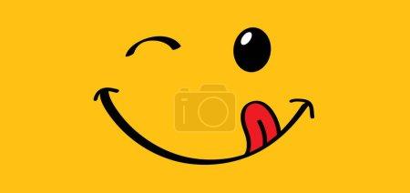 Illustration pour Délicieux sourire avec la langue lécher la bouche Monde sourire jour ou mois Logo alimentaire Sourire tous les jours Drôle vecteur rire dessin animé signe comique Délicieux, savoureux manger émoji lèvre visage Émotion lèvres souriantes symbole lécher - image libre de droit