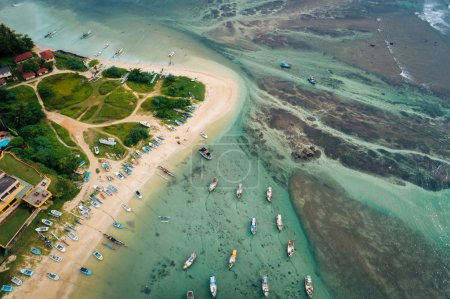 Photo for Aerial view of beautiful seascape with fisherman village at sri lanka - Royalty Free Image