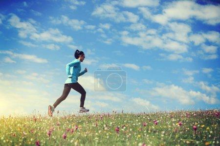 Photo pour Femme coureur de sentier d'ultramarathon courant vers le haut sur la montagne de prairie - image libre de droit
