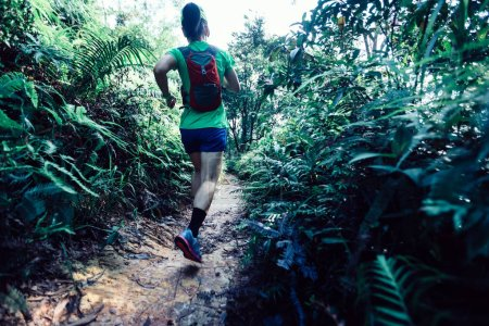 Photo for Woman ultra marathon runner running on tropical forest trail - Royalty Free Image