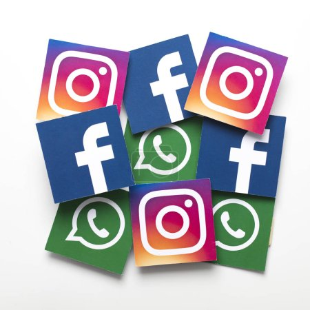 Photo for LONDON, UK - FEBRUARY 8th 2019: Facebook, Instagram and Whatsapp logos printed onto paper. - Royalty Free Image