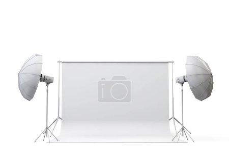 Photo pour Studio de photographie vide avec rouleau de papier et lumières. rendu 3D - image libre de droit